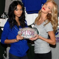 Chanel Iman and Erin Heatherton at Pink NFL collection launch