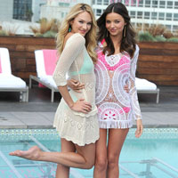Candice Swanepoel and Miranda Kerr Launch Victorias Secret 2012 Swim in LA